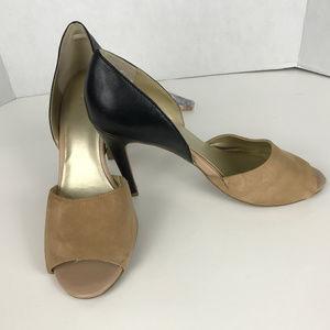 Levity Tan suede, Blk leather Sz 9M heels